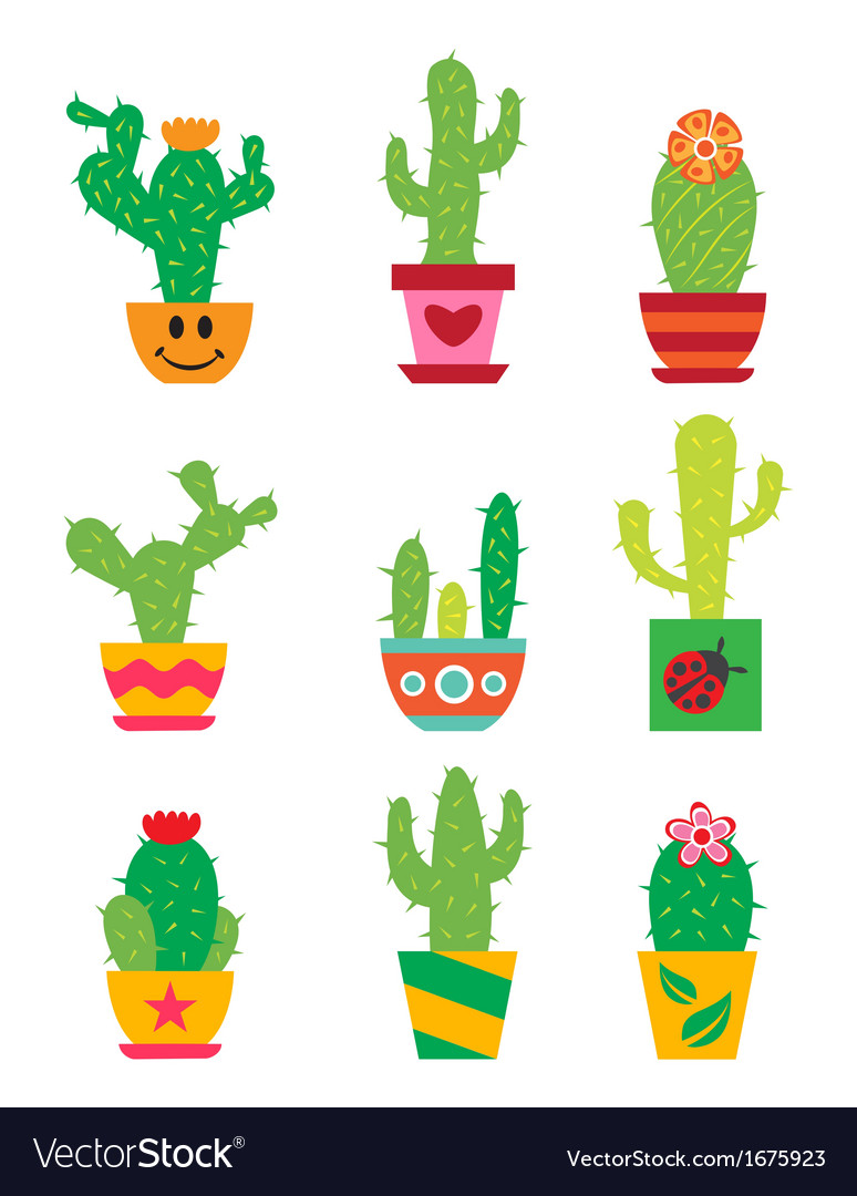 Cactus set vector | Price: 1 Credit (USD $1)