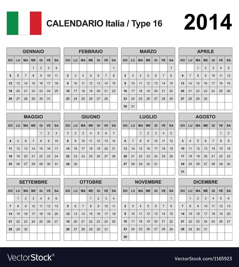 Calendar 2014 italia type 16 vector   Price: 1 Credit (USD $1)