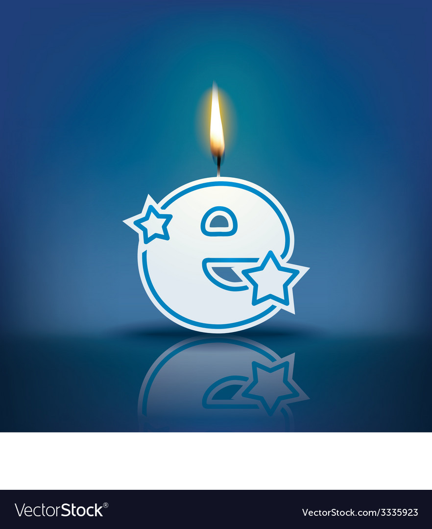 Candle letter e with flame vector | Price: 1 Credit (USD $1)