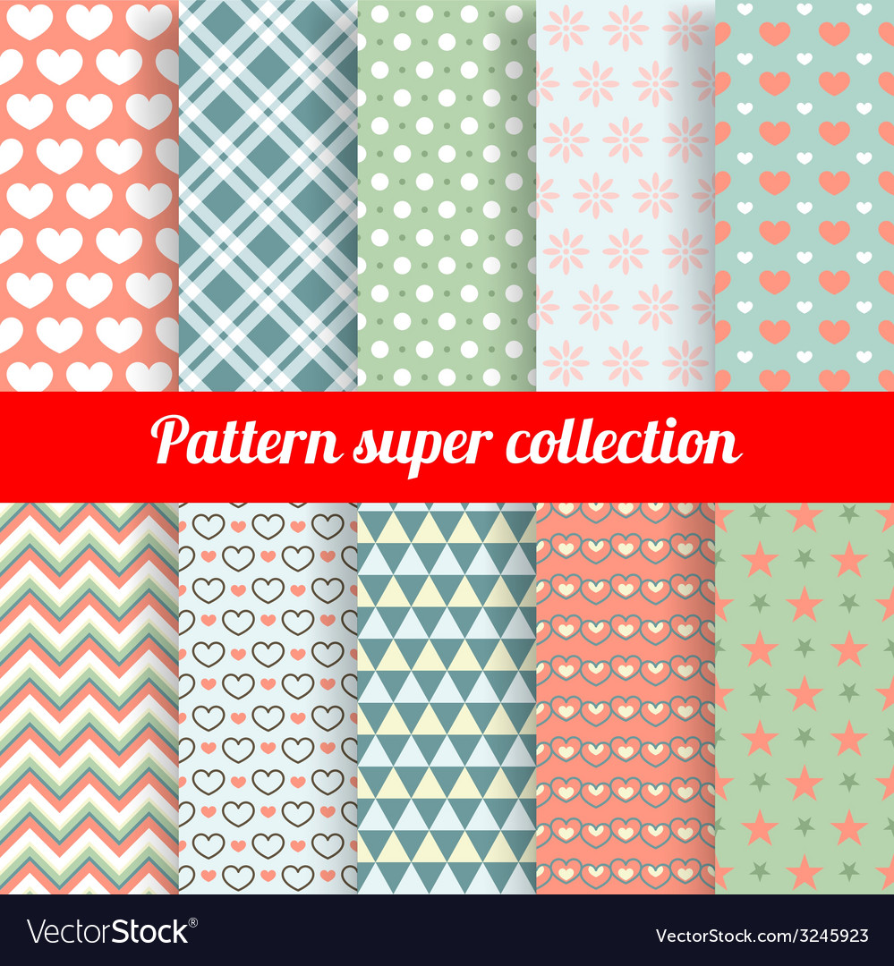 Collection of chic seamless patterns vector | Price: 1 Credit (USD $1)