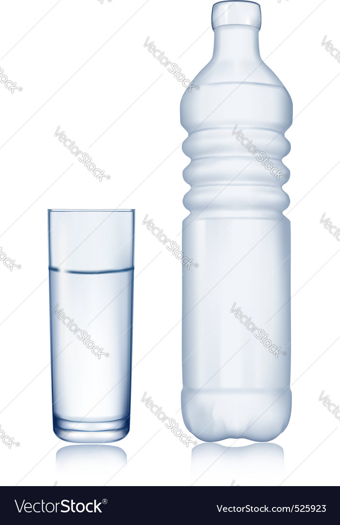 Glass and water bottle vector | Price: 1 Credit (USD $1)