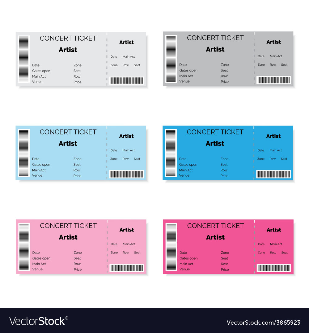 Set of colorful concert tickets vector | Price: 1 Credit (USD $1)