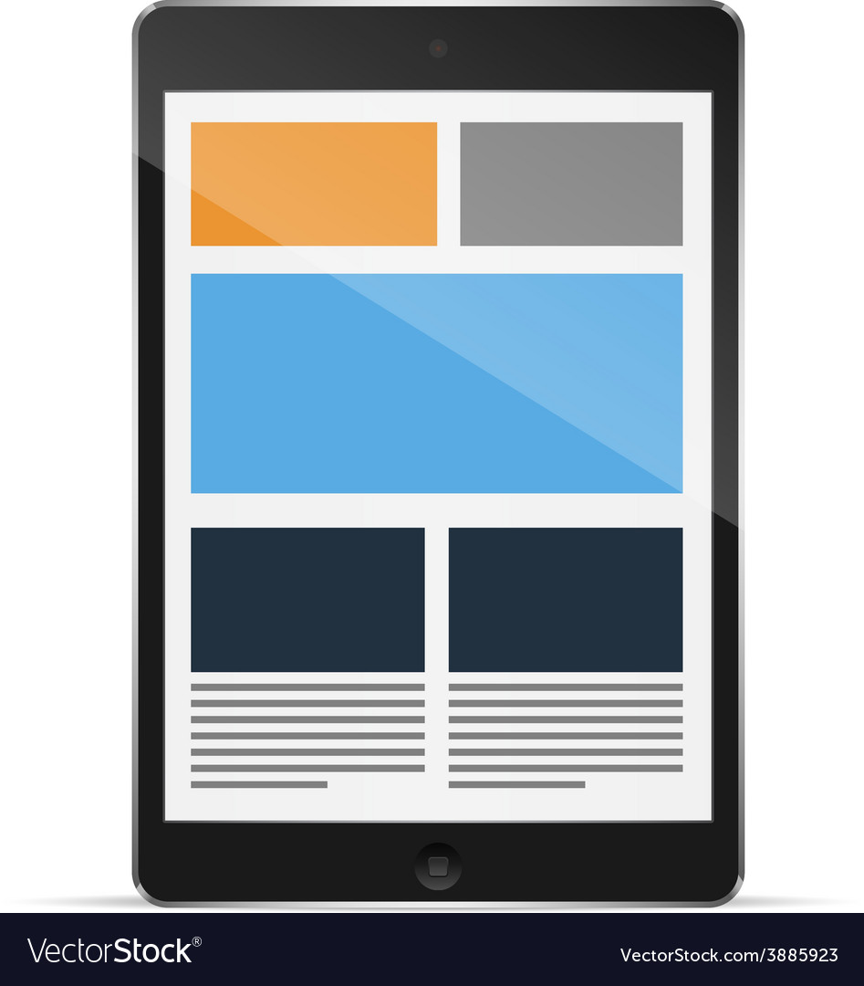 Tablet with responsive grid layout vector | Price: 1 Credit (USD $1)