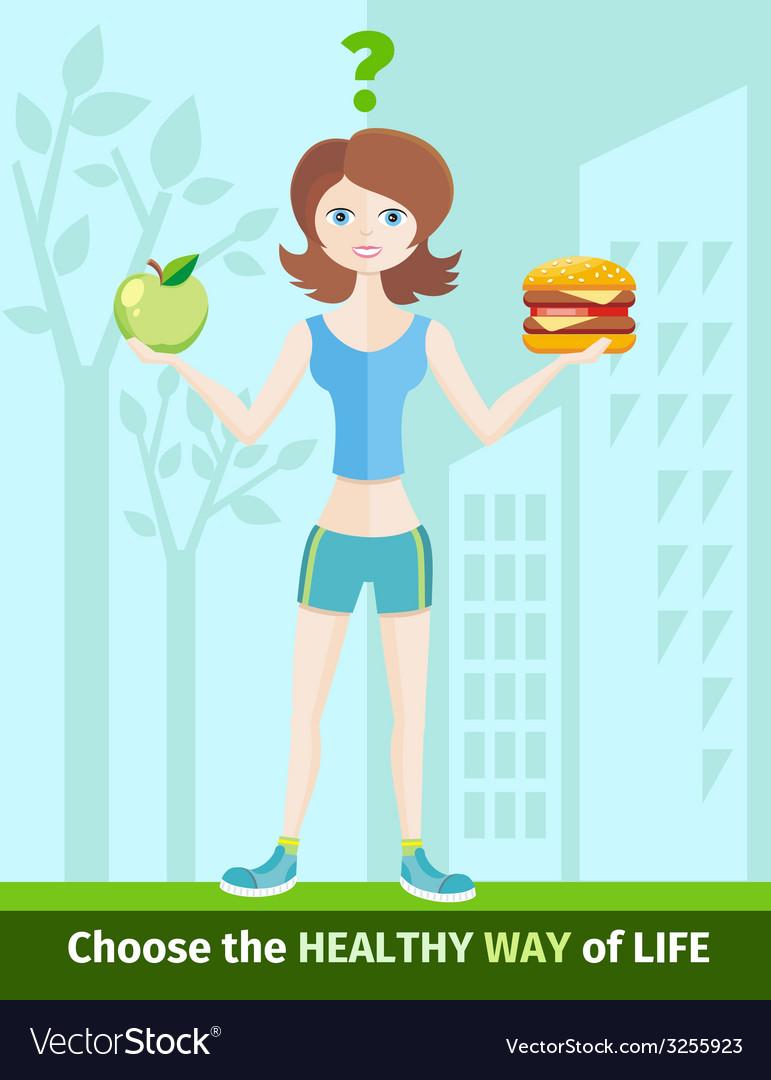 Woman choosing between eat apple or hamburger vector | Price: 1 Credit (USD $1)