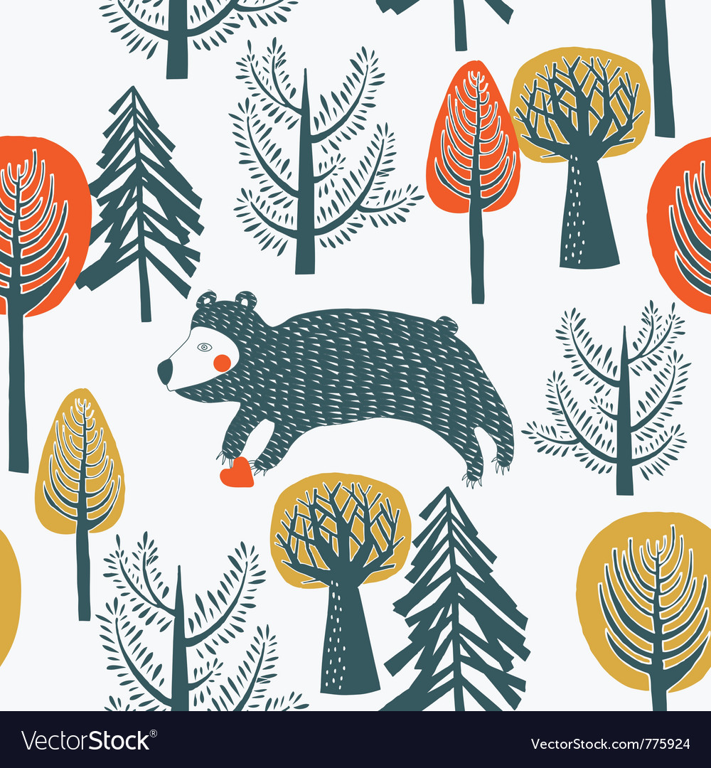 Bear in the forest vector | Price: 1 Credit (USD $1)