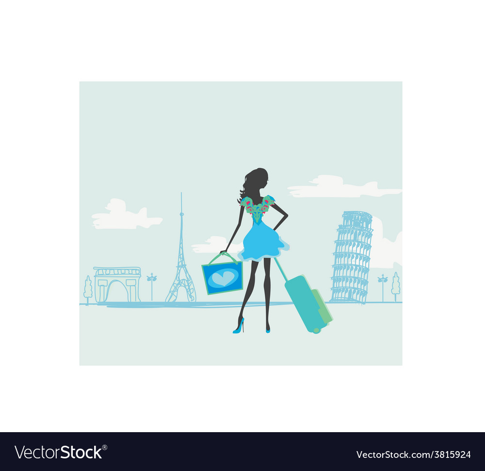 Beautiful women shopping in france and italy vector | Price: 1 Credit (USD $1)