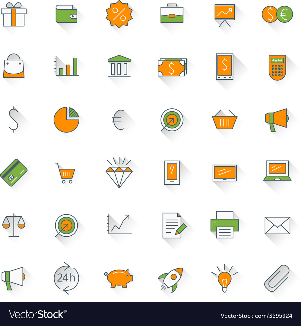 Business flat design icon set money shopping bank vector | Price: 1 Credit (USD $1)