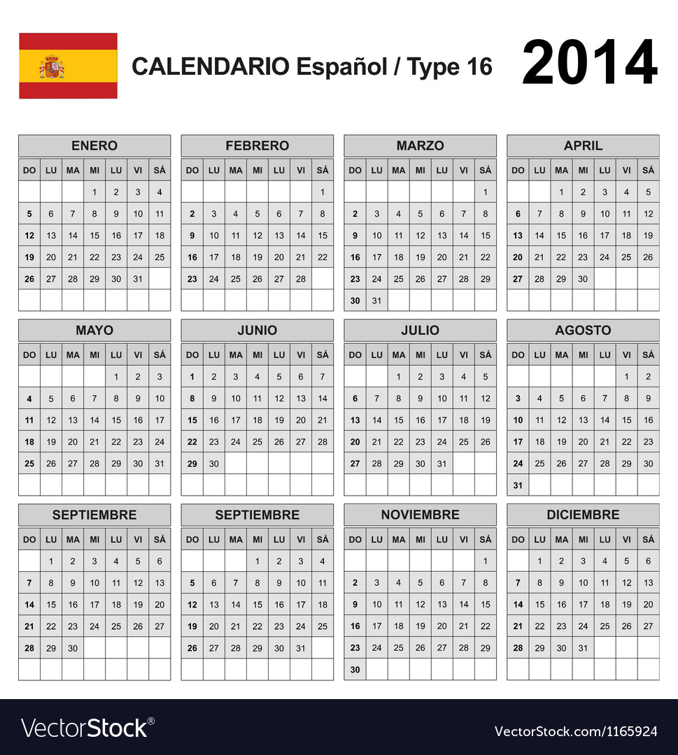 Calendar 2014 spain type 16 vector | Price: 1 Credit (USD $1)