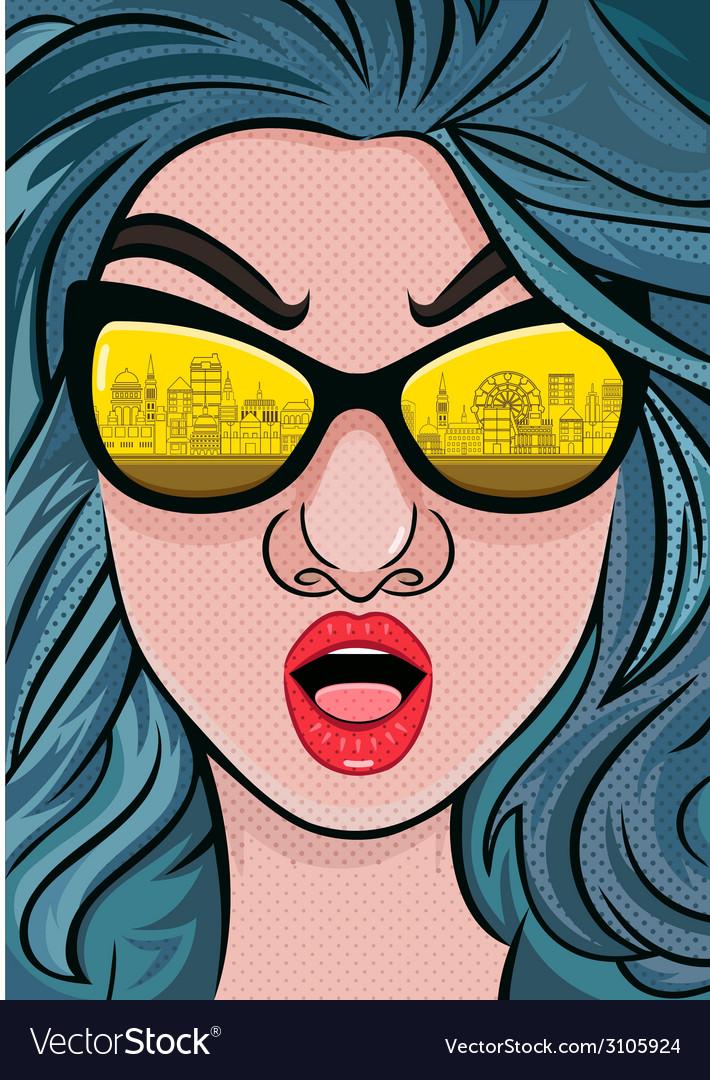 Retro 70s fashion women with sunglasses vector | Price: 1 Credit (USD $1)