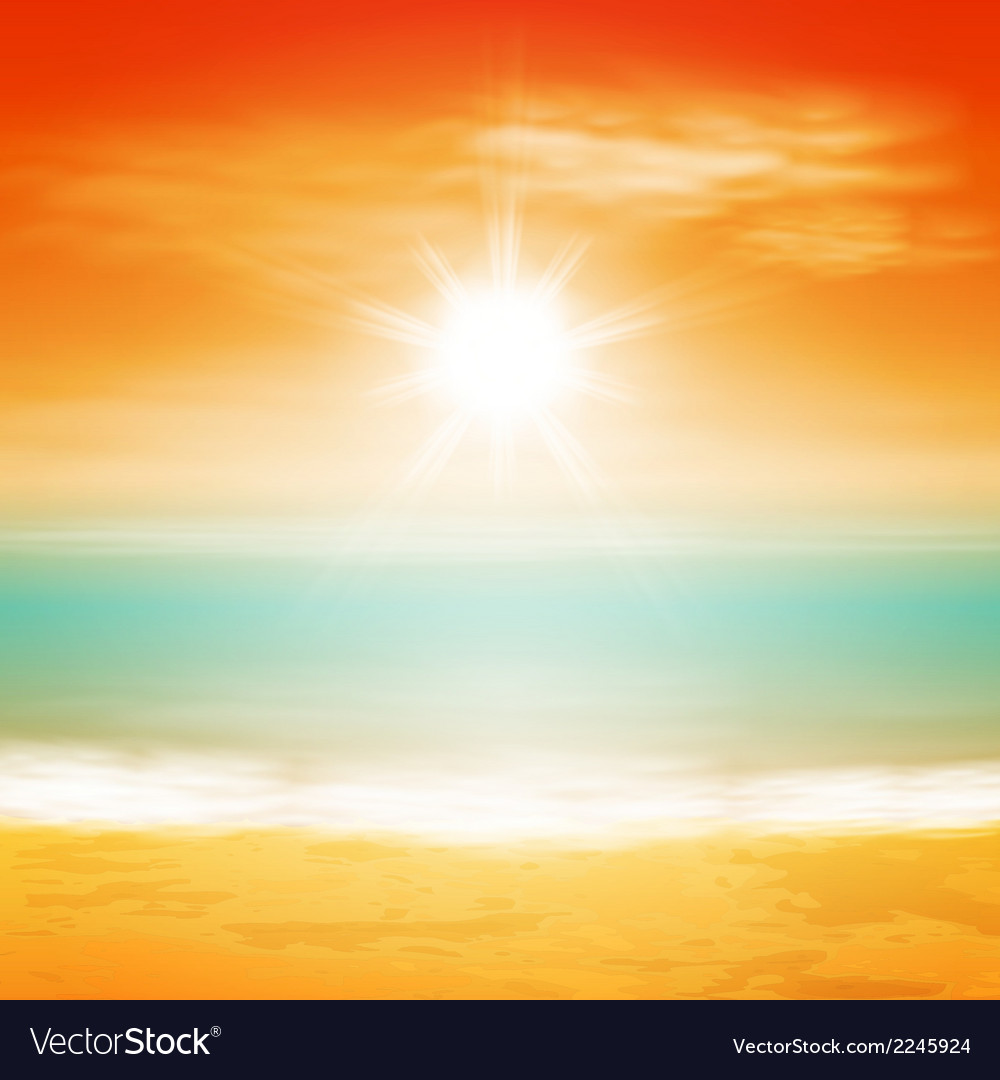 Sea sunset with bright sun vector | Price: 1 Credit (USD $1)
