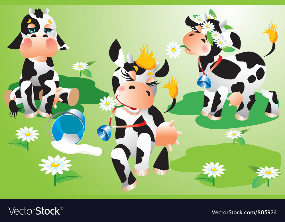 Set of cows cartoons on green meadow vector | Price: 3 Credit (USD $3)