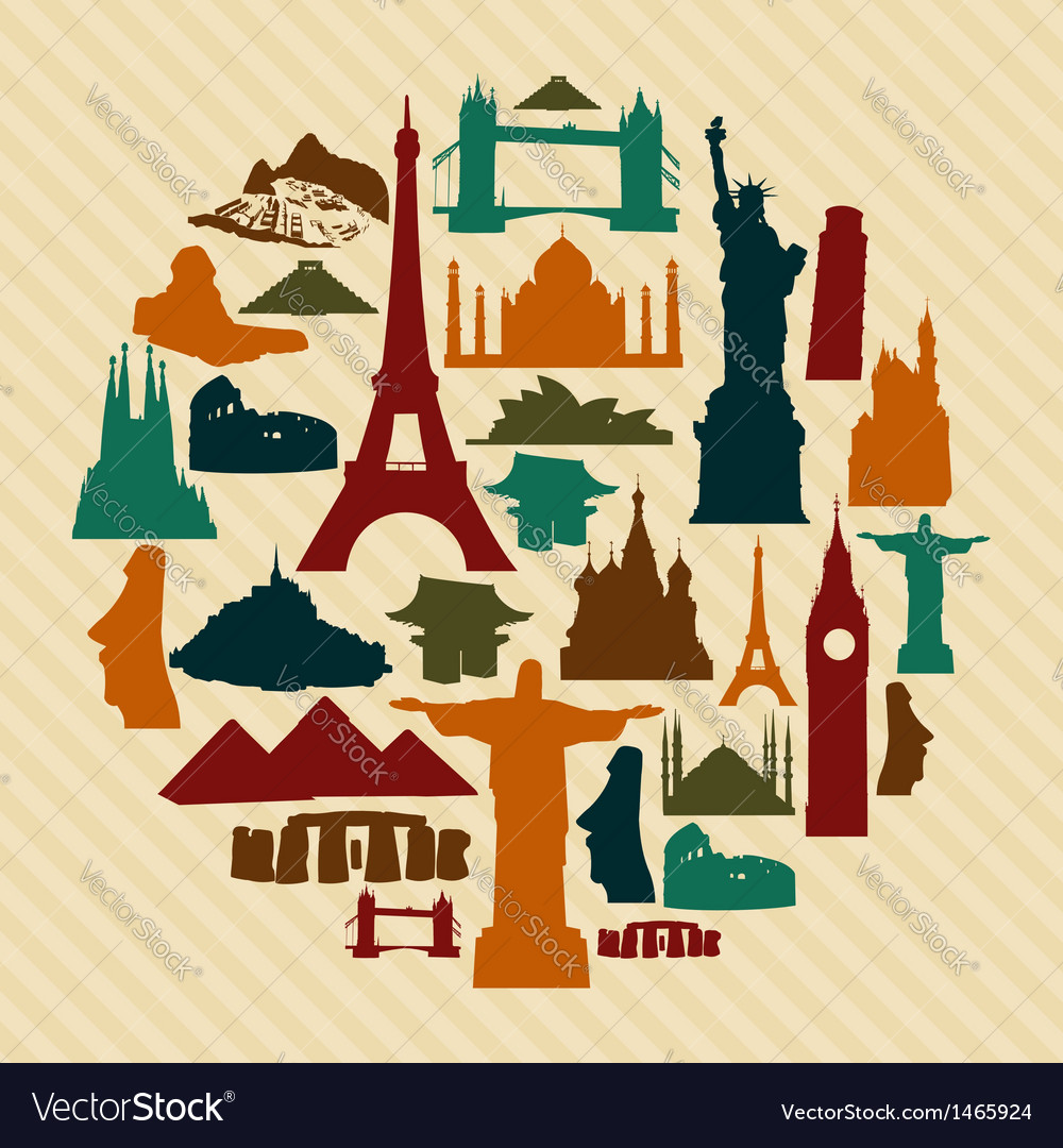 World landmark silhouettes set vector | Price: 1 Credit (USD $1)