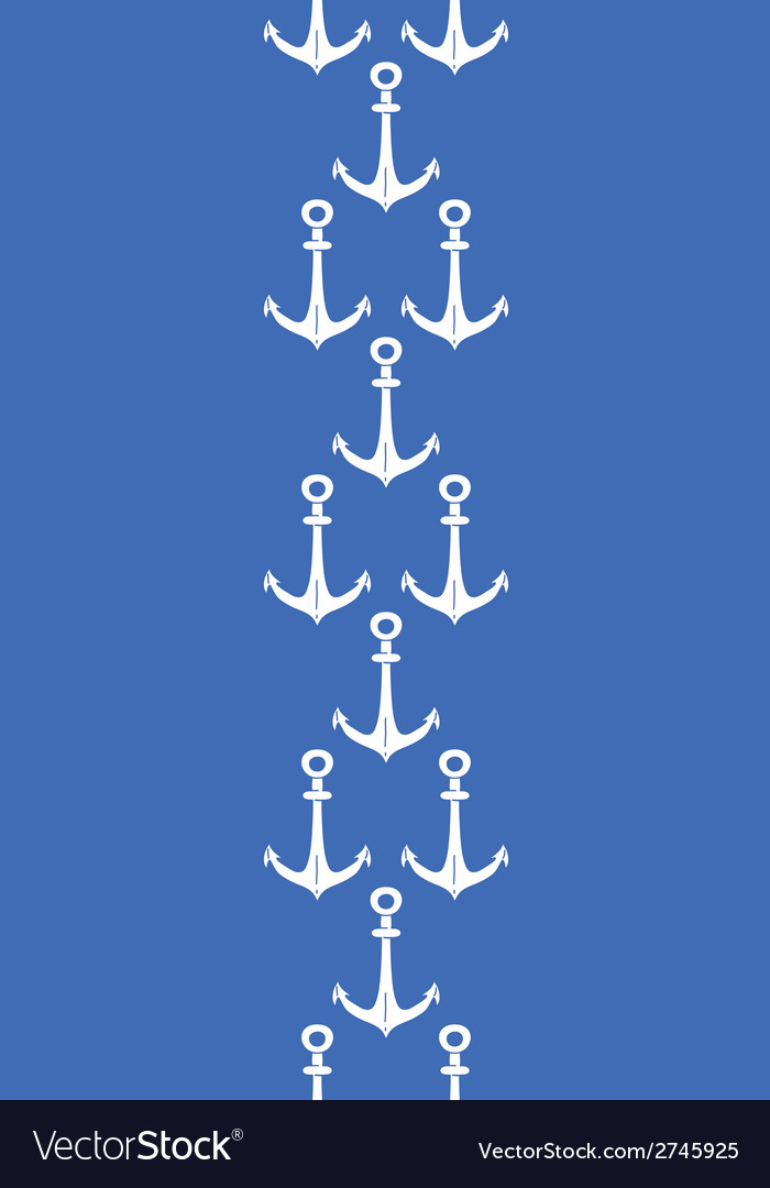 Anchors blue and white vertical border seamless vector | Price: 1 Credit (USD $1)