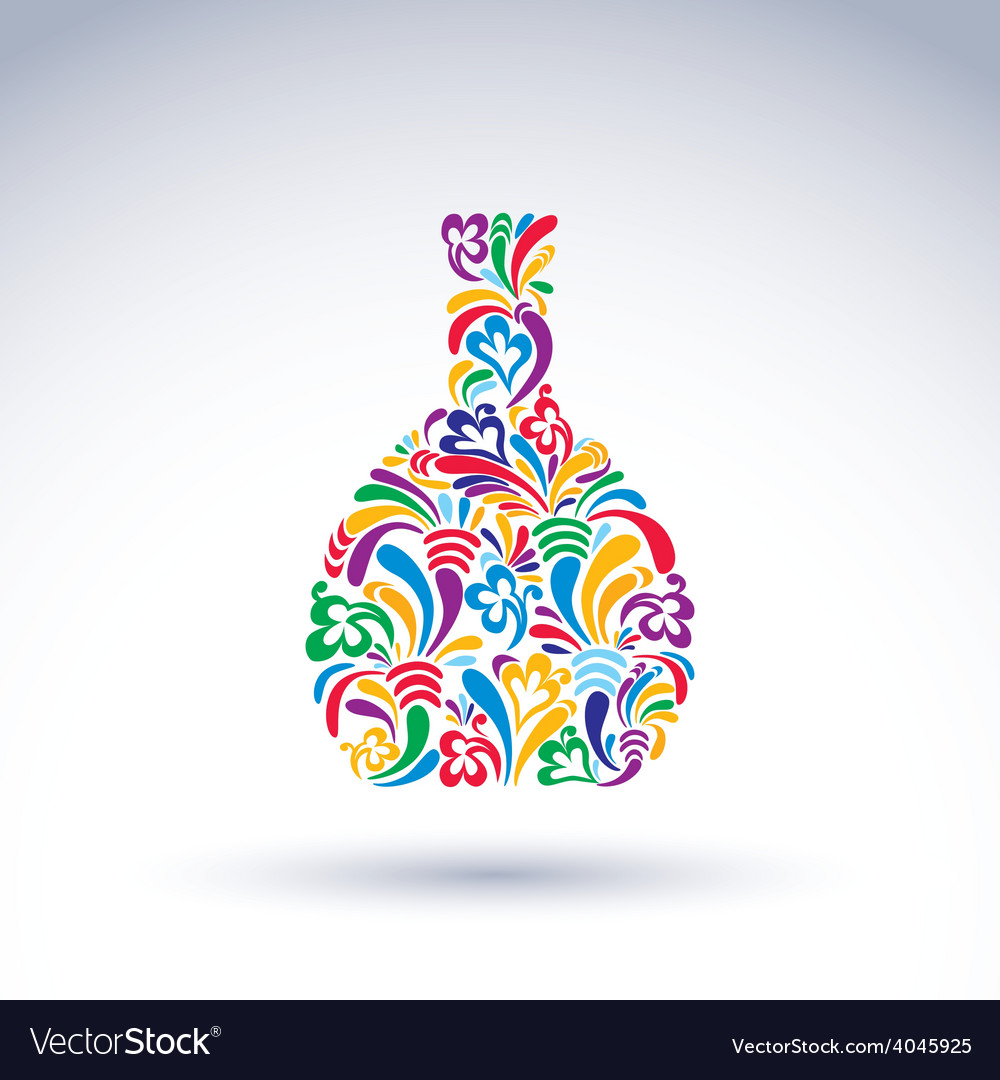 Colorful flower-patterned bottle alcohol and vector | Price: 1 Credit (USD $1)