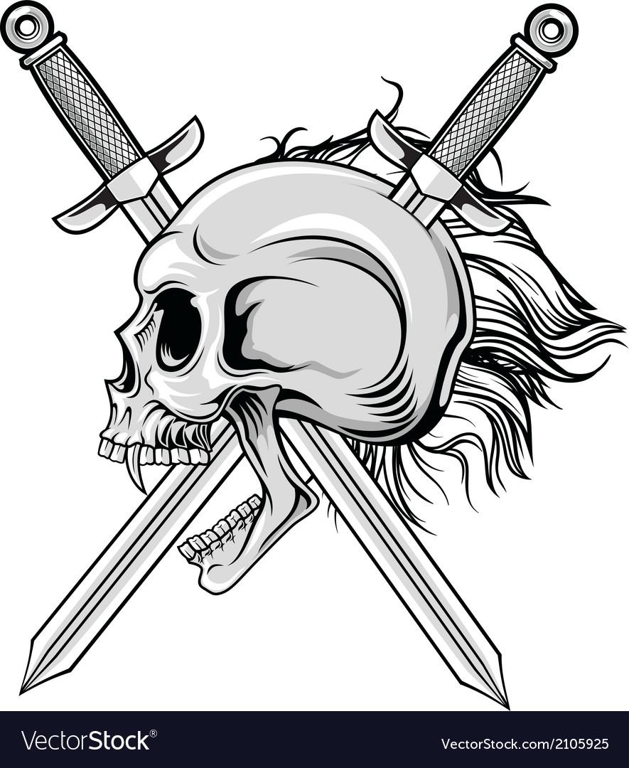 Cross swords and skull vector | Price: 1 Credit (USD $1)