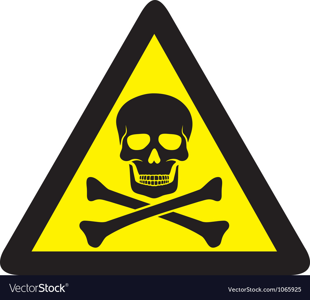 Danger sign with skull symbol vector | Price: 1 Credit (USD $1)