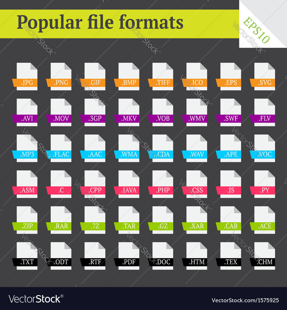File formats vector | Price: 1 Credit (USD $1)