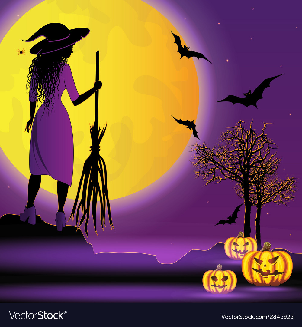 Halloween background with young witch vector | Price: 1 Credit (USD $1)