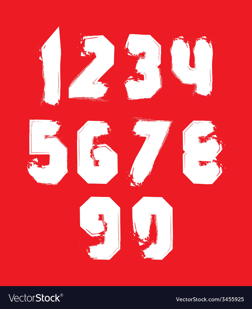 Handwritten white freak numbers stylish digits set vector | Price: 1 Credit (USD $1)
