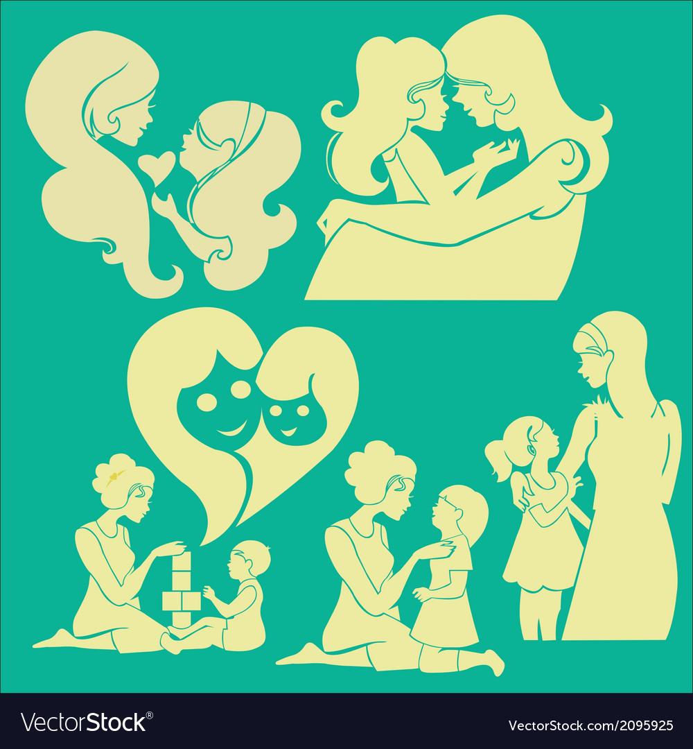 Happy mother 1 vector | Price: 1 Credit (USD $1)