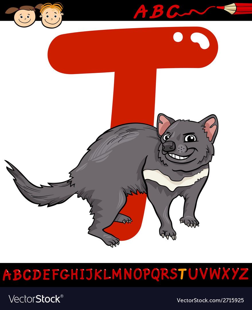 Letter t for tasmanian devil cartoon vector | Price: 1 Credit (USD $1)