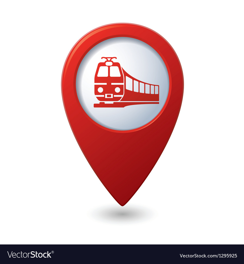 Map pointer with train symbol vector   Price: 1 Credit (USD $1)