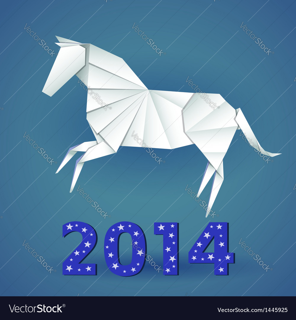 New year origami paper horse 2014 celebration card vector | Price: 1 Credit (USD $1)