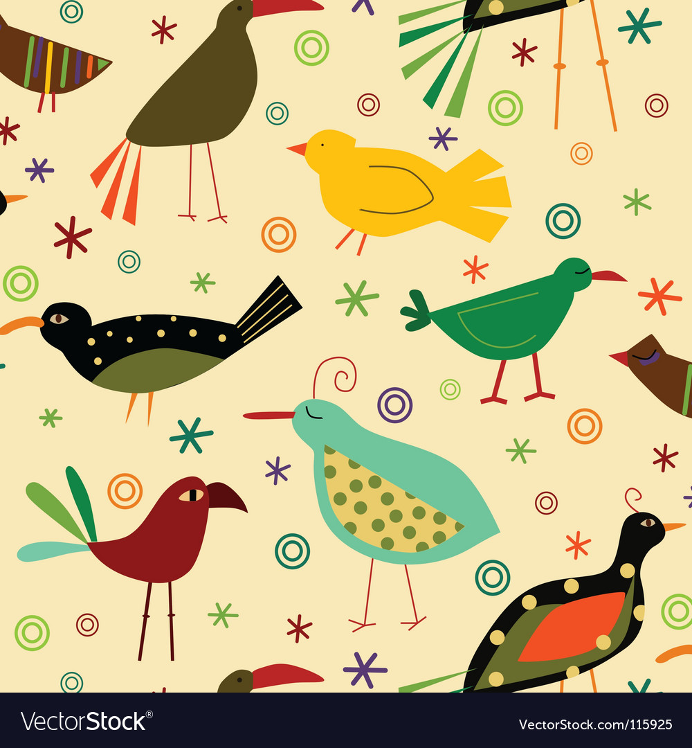 Retro bird pattern vector | Price: 1 Credit (USD $1)