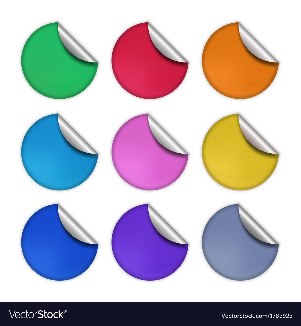 Set of glossy round stickers eps 10 vector | Price: 1 Credit (USD $1)