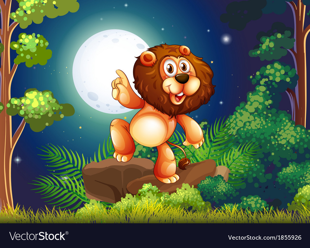 A lion above the rock at the forest vector