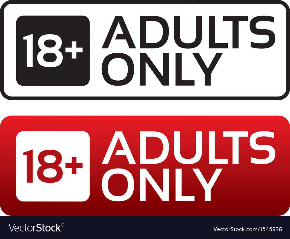 Adults only content button age limit stamp vector | Price: 1 Credit (USD $1)