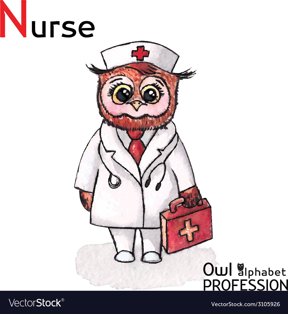 Alphabet professions owl letter n - nurse vector | Price: 1 Credit (USD $1)