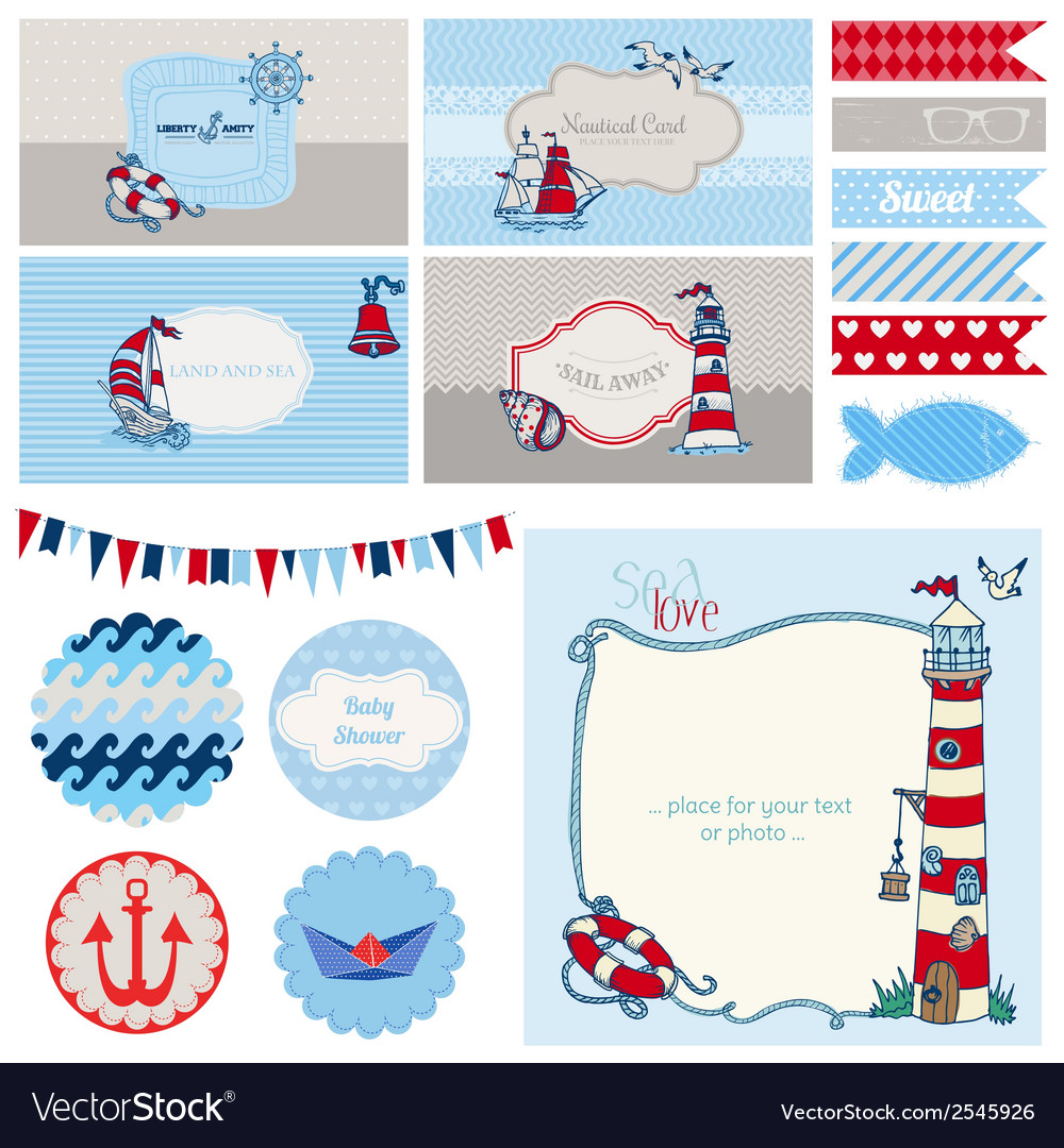 Baby shower nautical set vector | Price: 1 Credit (USD $1)