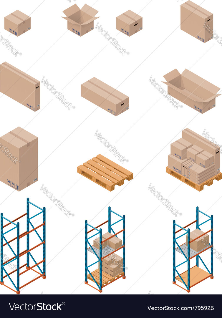 Boxes and shelving vector | Price: 3 Credit (USD $3)