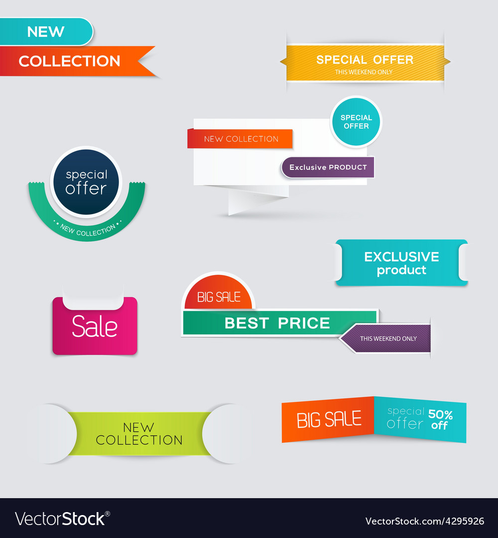 Collection of sale discount styled origami banners vector | Price: 1 Credit (USD $1)