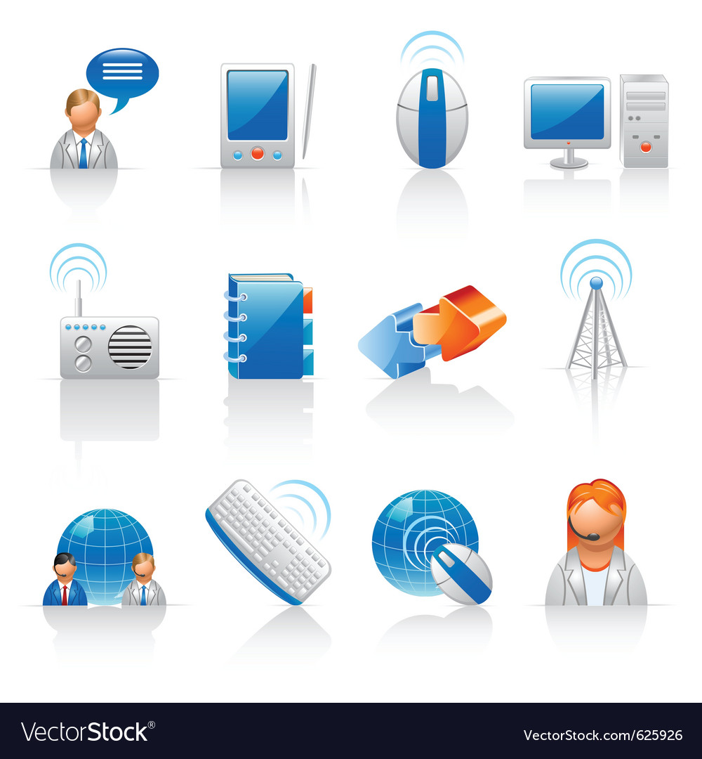 Communication and internet icons vector | Price: 1 Credit (USD $1)