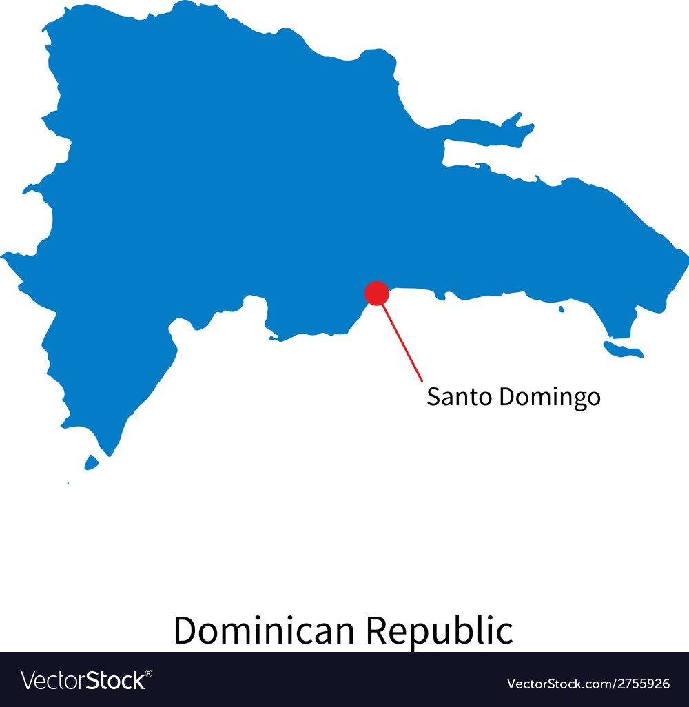 Detailed map of dominican republic and capital vector | Price: 1 Credit (USD $1)