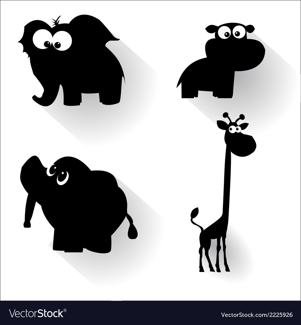 Funny cartoon animals silhouettes vector | Price: 1 Credit (USD $1)