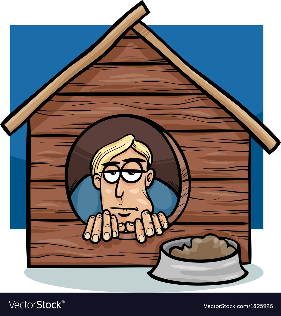 In the dog house saying cartoon vector | Price: 1 Credit (USD $1)
