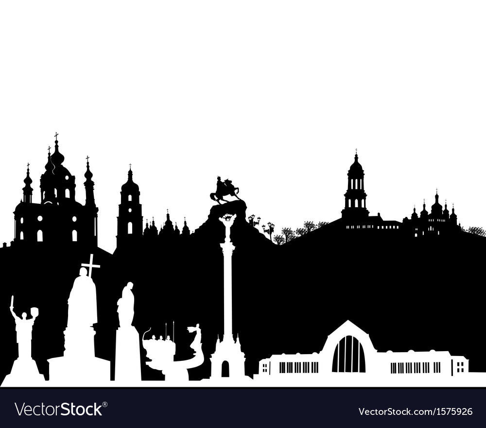 Kiev silhouette on a white background vector | Price: 1 Credit (USD $1)