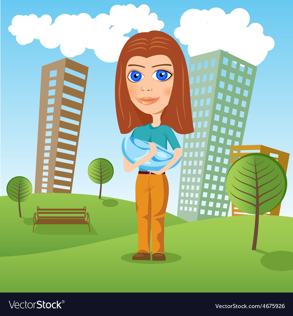 Mother holding newborn baby in the park vector   Price: 1 Credit (USD $1)