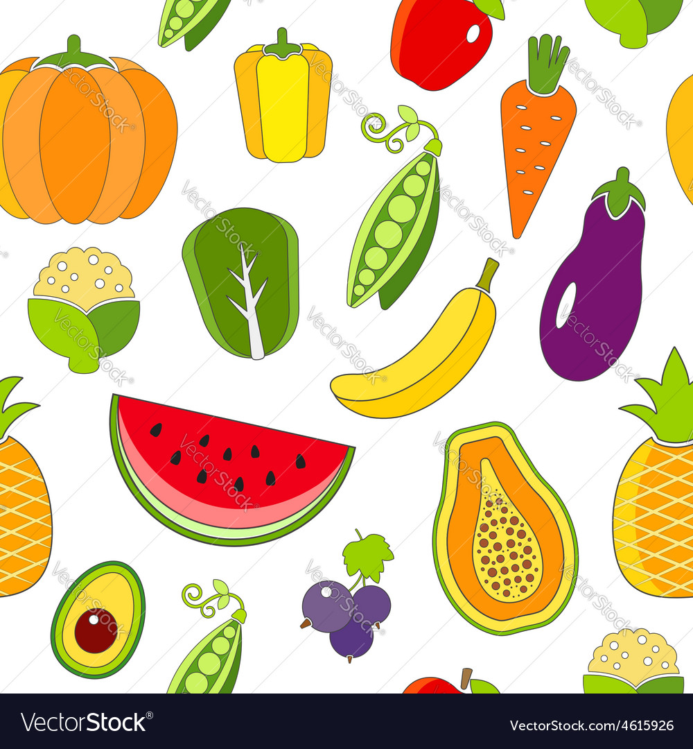 Seamless pattern with fruits and vegetables vector | Price: 1 Credit (USD $1)