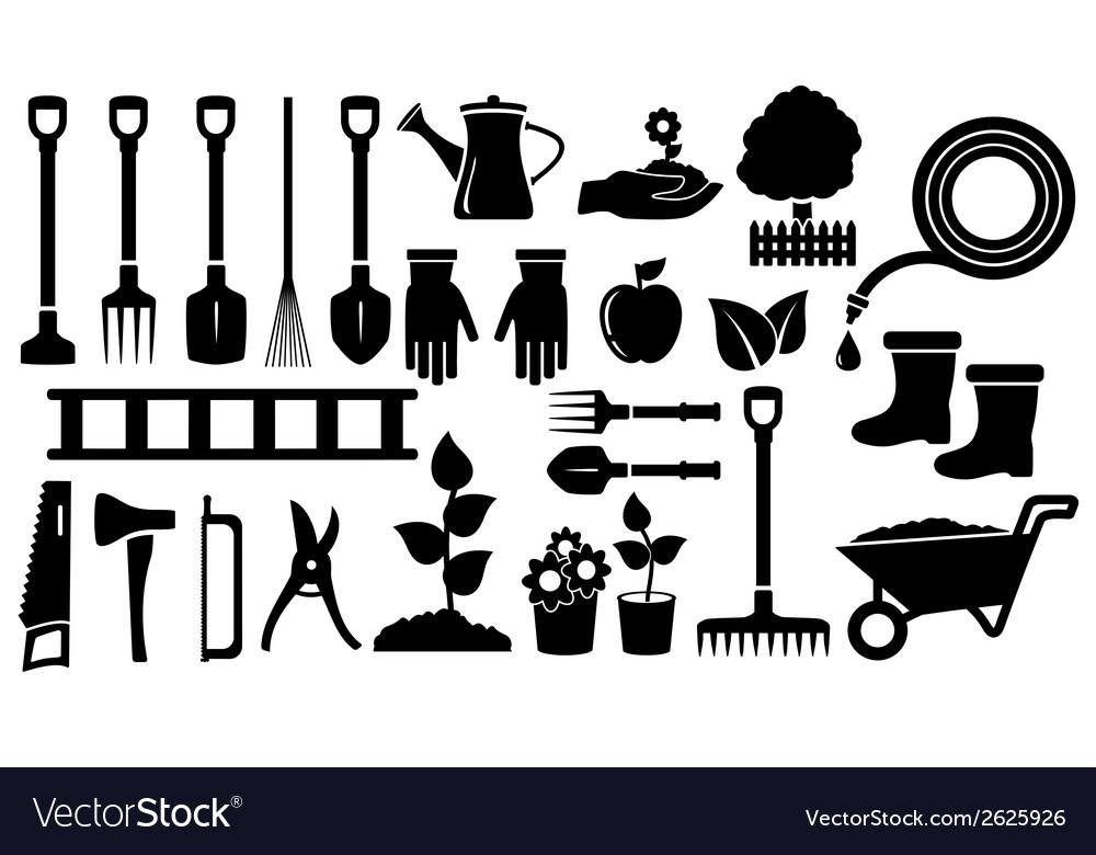 Set black garden tools vector | Price: 1 Credit (USD $1)