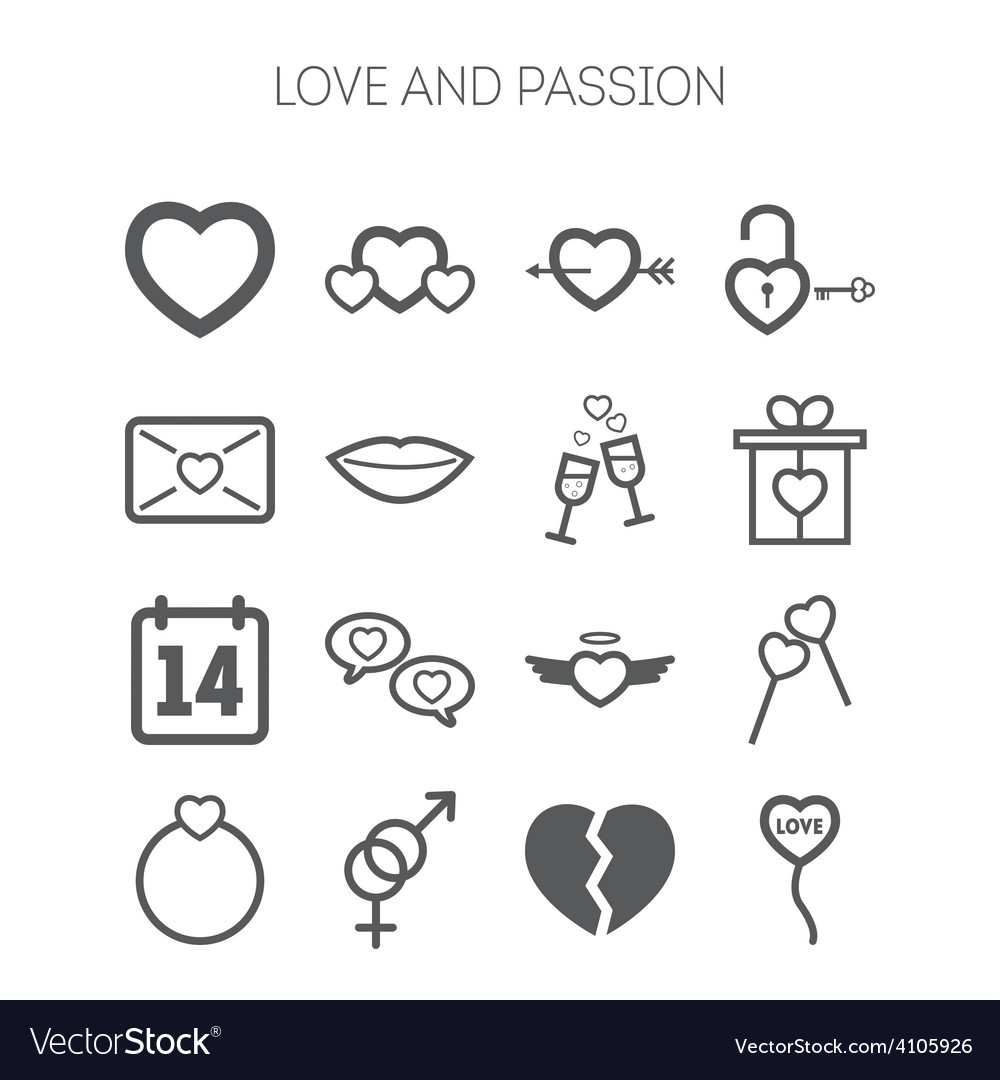 Set of simple love icons for saint valentine day vector | Price: 1 Credit (USD $1)