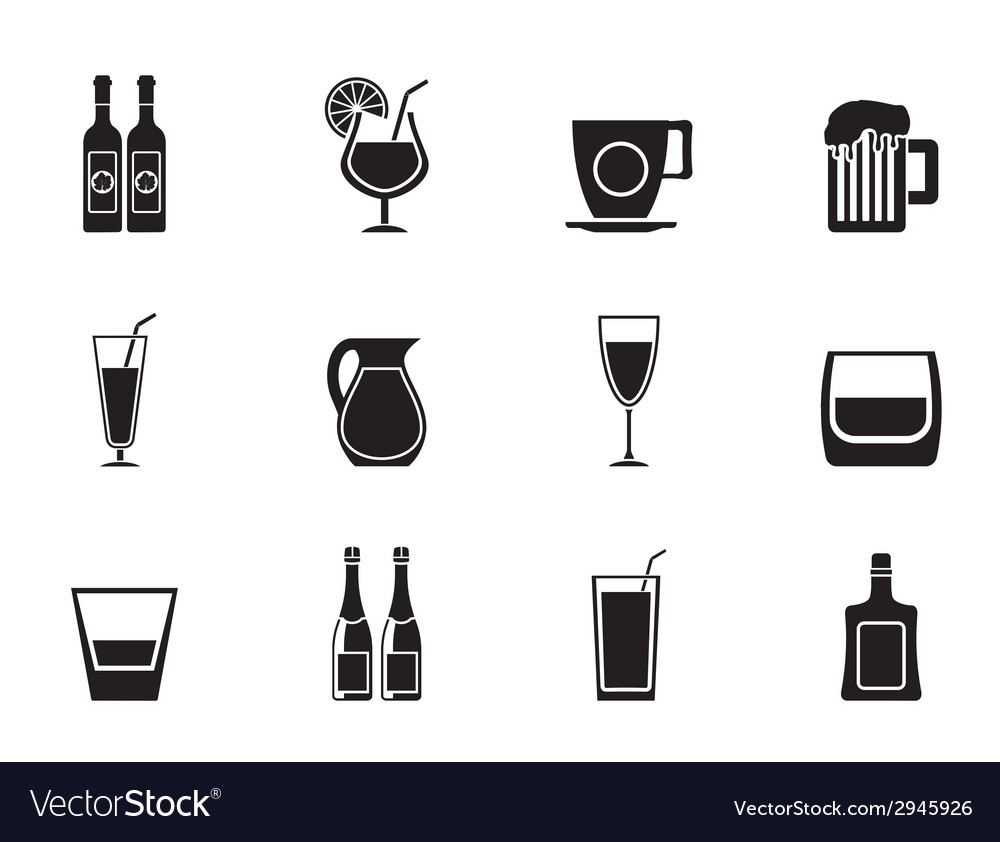 Silhouette different kind of drink icons vector | Price: 1 Credit (USD $1)