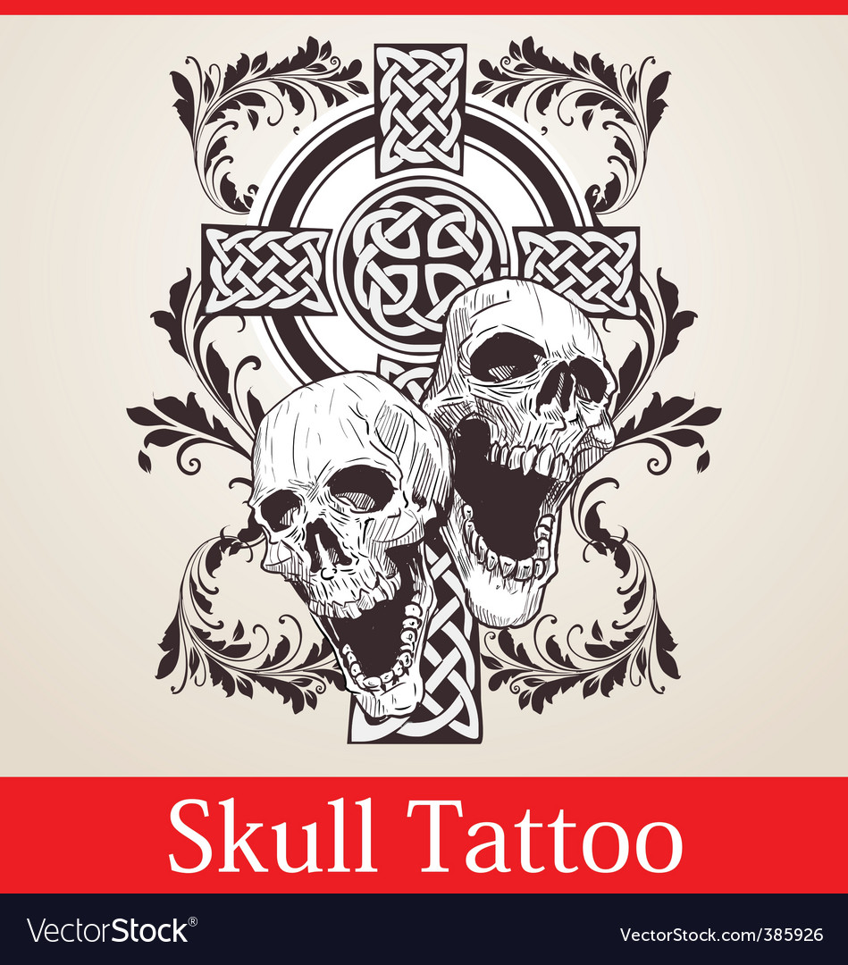 Skull cross tattoo vector | Price: 1 Credit (USD $1)