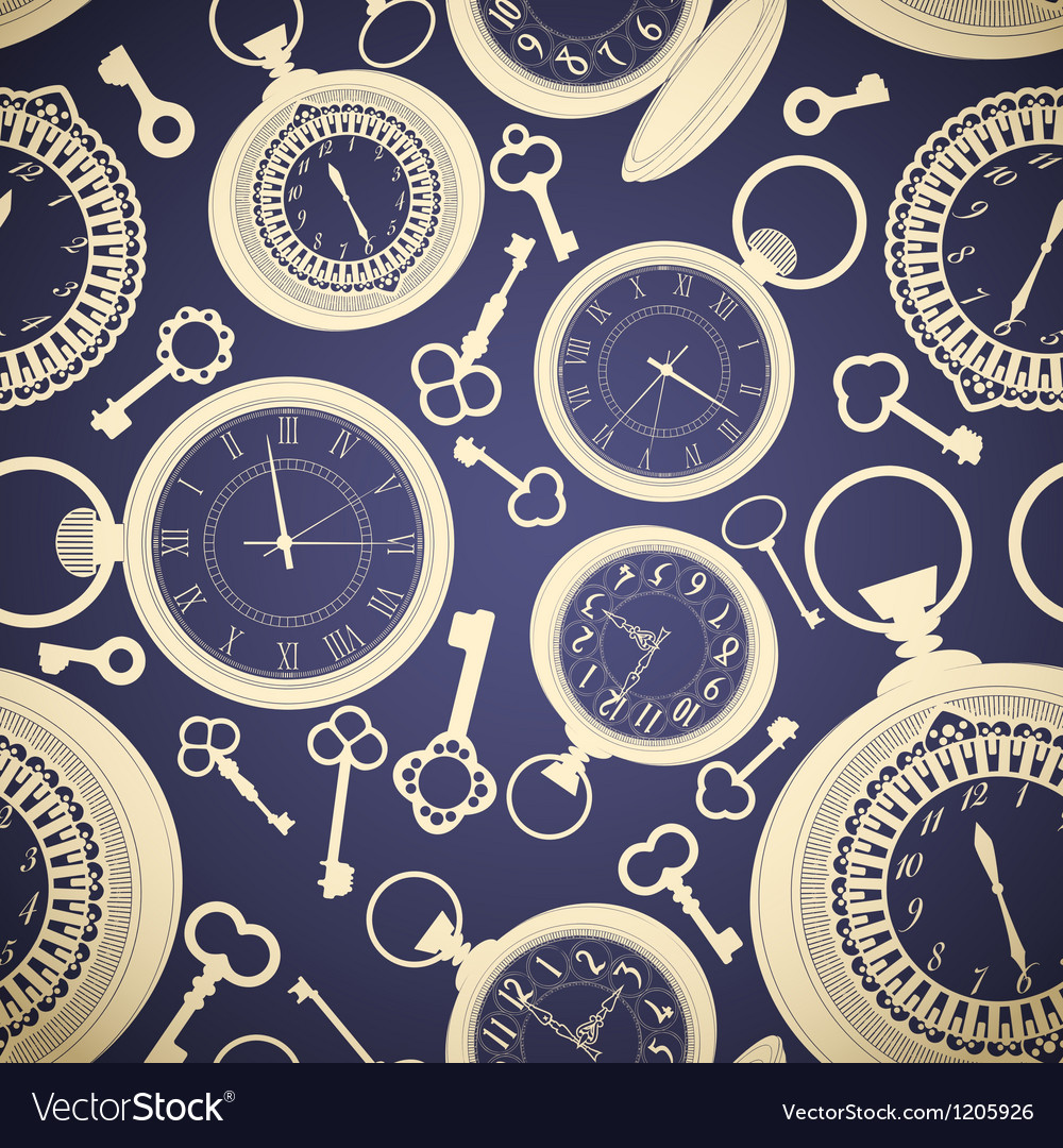Vintage seamless pattern with clocks and keys vector | Price: 1 Credit (USD $1)
