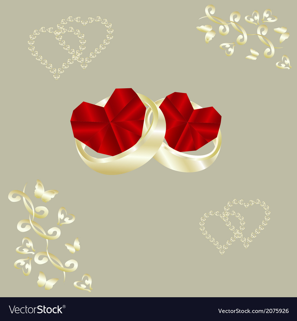 Wedding rings and ruby heart vector | Price: 1 Credit (USD $1)