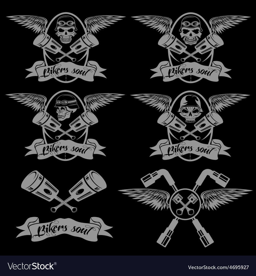 Biker theme labels with pistons and skulls with vector | Price: 1 Credit (USD $1)