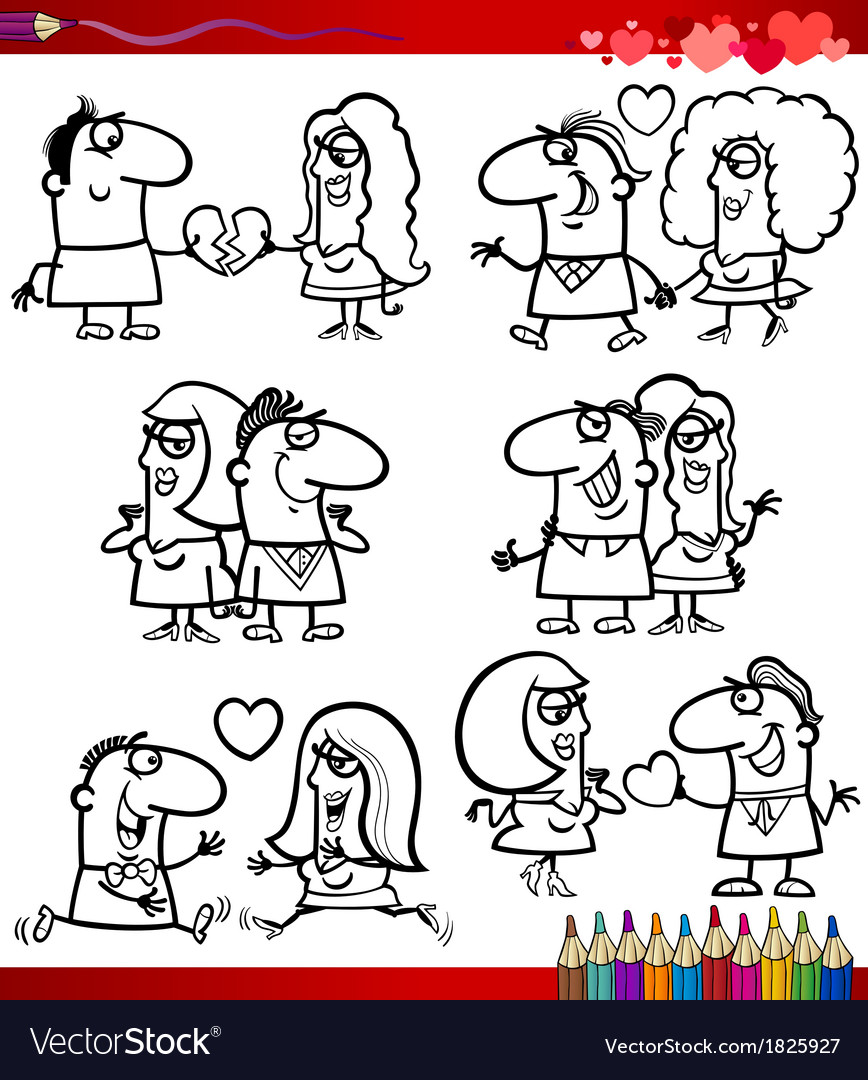Couple in love cartoons coloring page vector | Price: 1 Credit (USD $1)